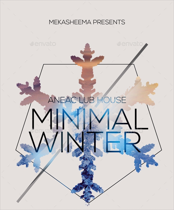 minimal winter event flyer