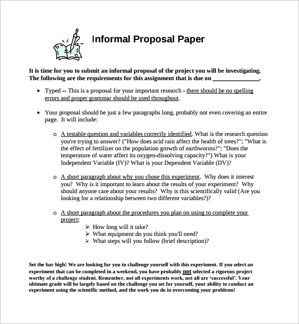 Sample Informal Proposal Template   Free Documents In Pdf