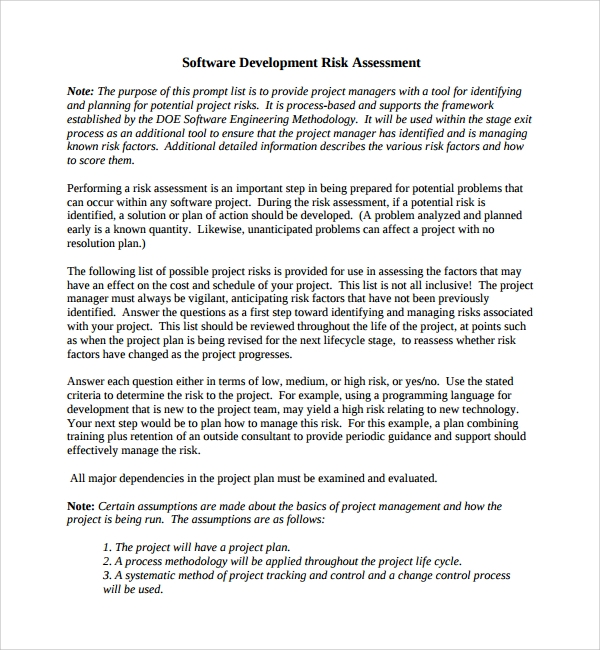 Software Risk Assessment Template