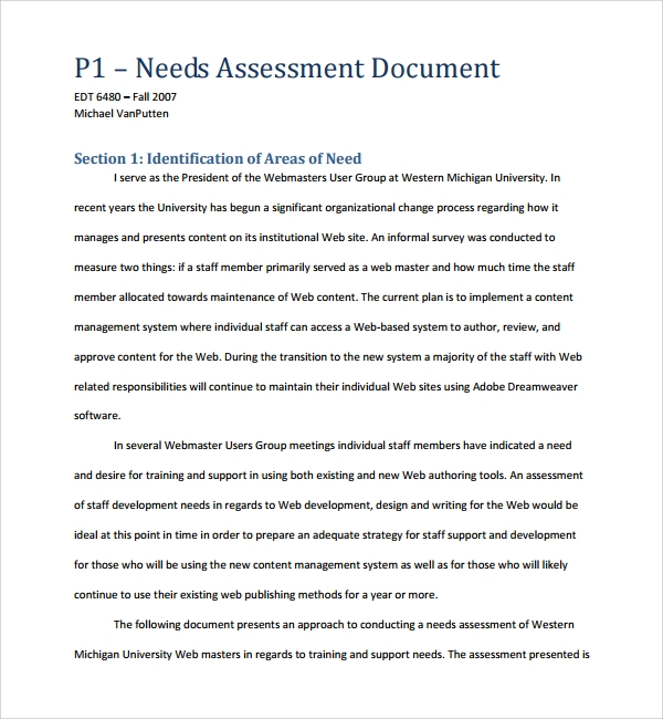 software needs assessment template
