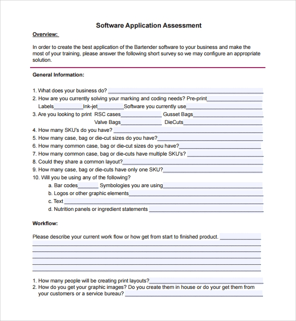 software application assessment template