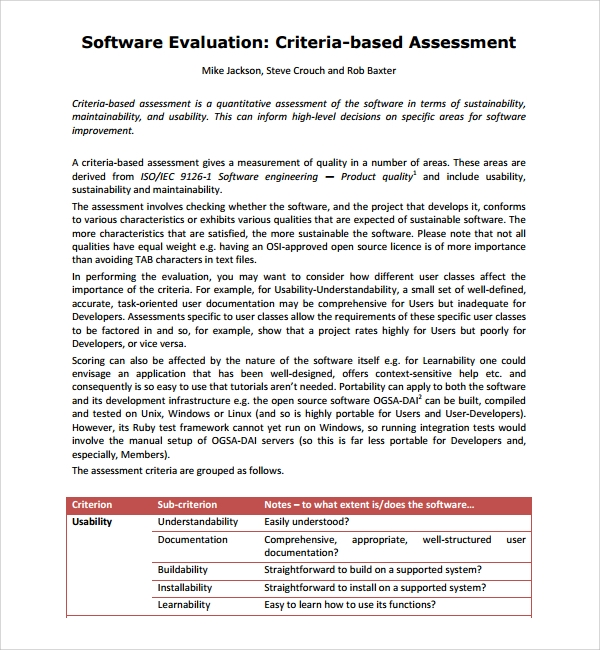 Software Evaluation | Software Assessment Template
