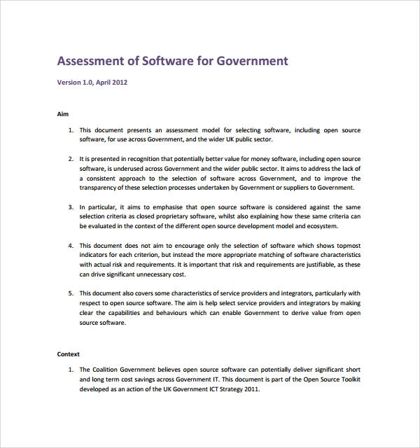 free software assessment template%ef%bb%bf