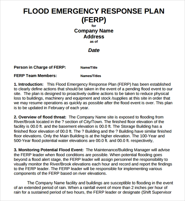 Sample emergency response plan template 9 free for Emergency preparedness and response plan template