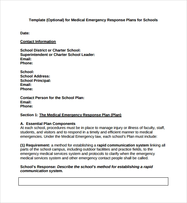 emergency plan template for schools - 10 emergency response plan templates sample templates