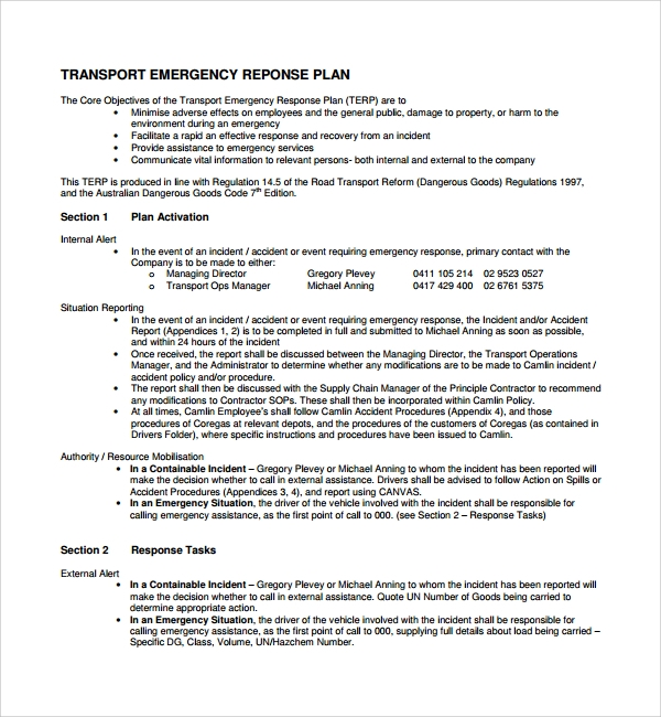 Sample emergency response plan template 9 free for Incident response procedure template
