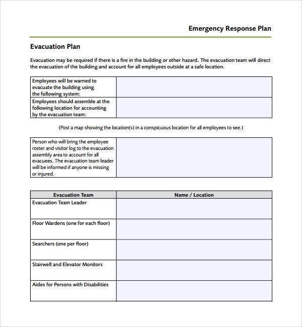 Sample Emergency Response Plan Template   Free Documents In