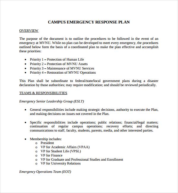 campus emergency response plan
