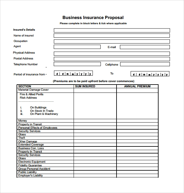 business insurance quote template  12  Insurance Proposal Templates | Sample Templates