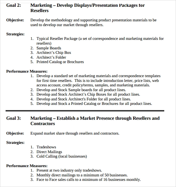 business goal planning template