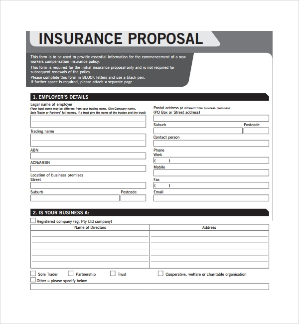 insurance proposal template word  12  Insurance Proposal Templates | Sample Templates