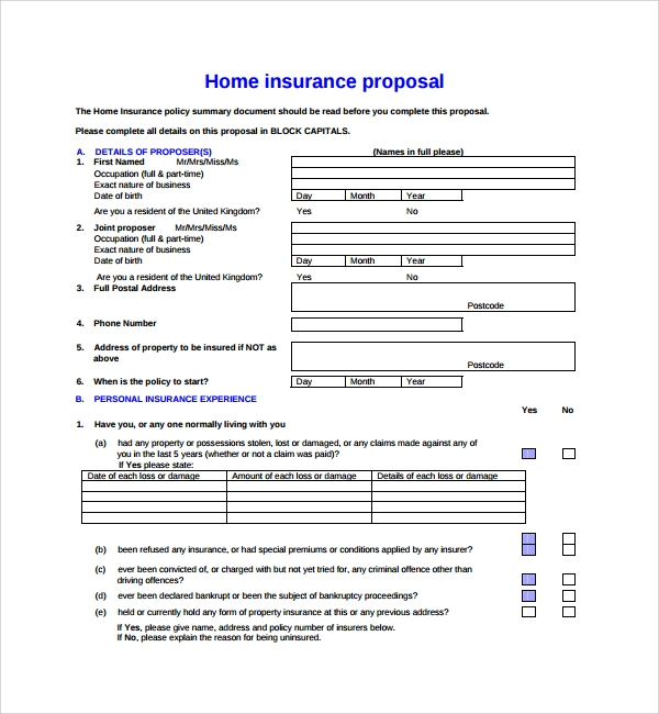 Sample Insurance Proposal Template 7 Free Documents in PDF Word – Commercial Proposal Format