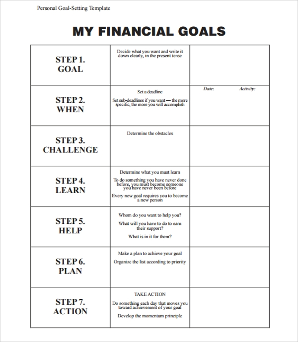Sample goal planning template 8 free documents in pdf word for How to set up a business plan templates