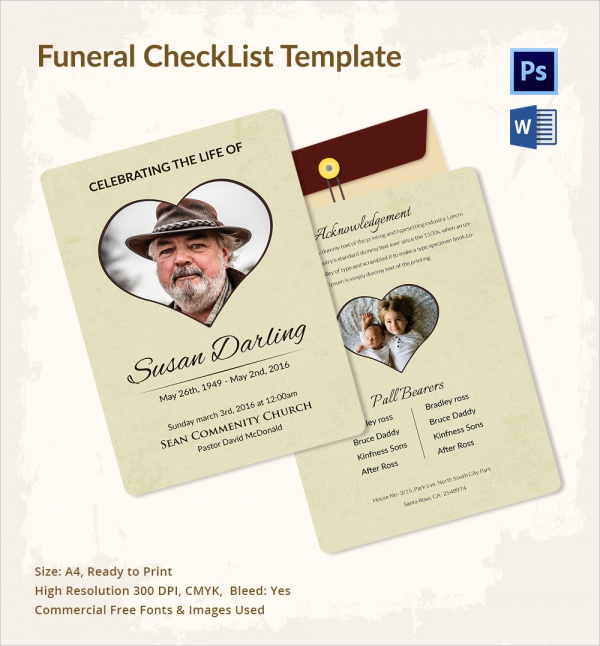 13+ Funeral Checklist Templates | Sample Templates