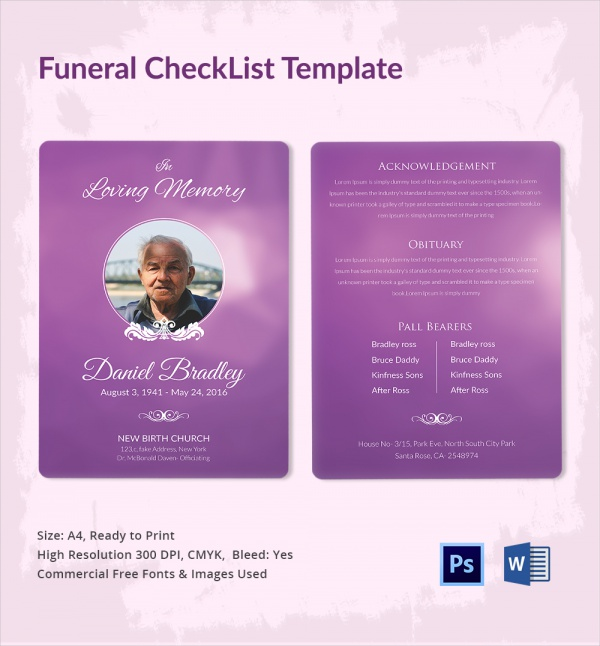printable funeral checklist template