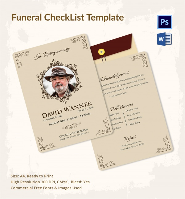 simple funeral checklist template