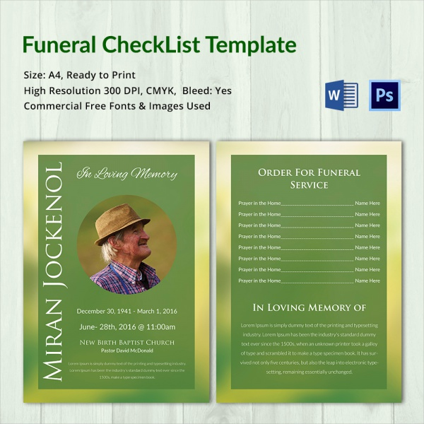 downloadable funeral checklist template