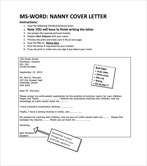 Sample Nanny Cover Letter   Free Documents In Word Pdf