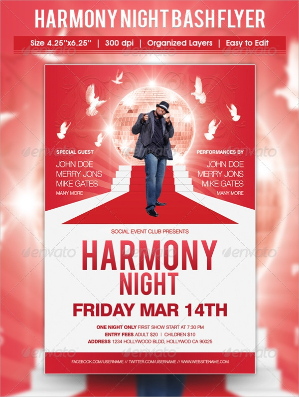 harmony night bash flyer