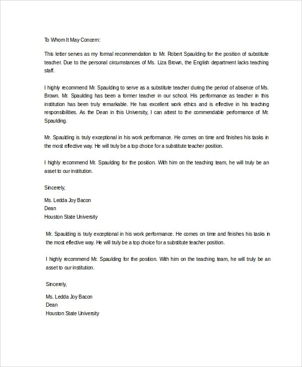 Sample Letter Of Recommendation 20 Free Documents Download In Word