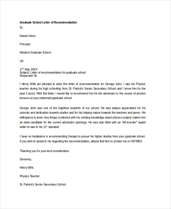 sample recommendation letter for graduate school sample letter of recommendation 20 free documents 24681 | Recommendation Letter For Graduate School