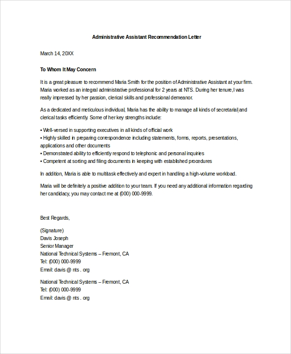 administrative assistant reference letter legal