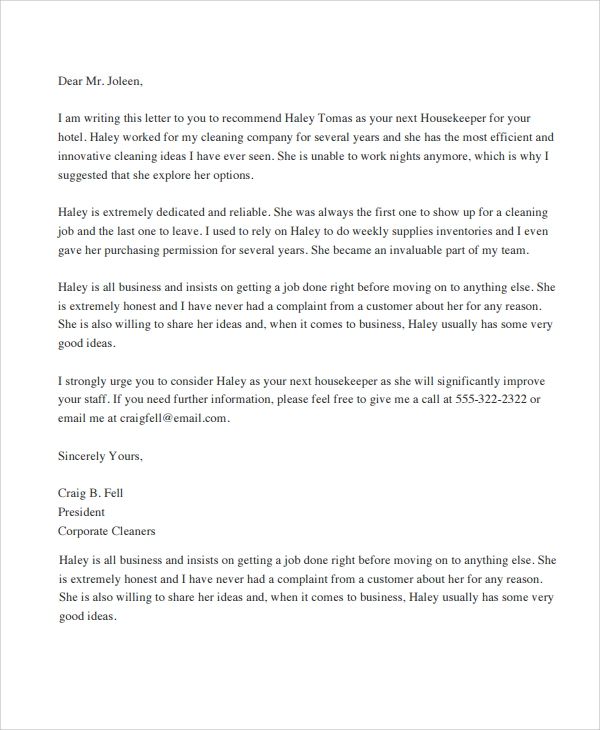 Sample letter of recommendation 20 free documents download in housekeeper recommendation letter spiritdancerdesigns Image collections