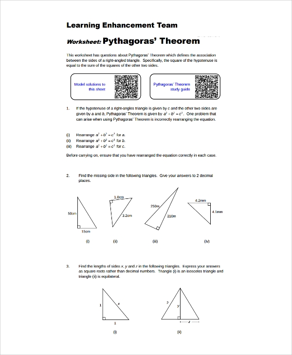 pythagorean theorem worksheet whole numbers