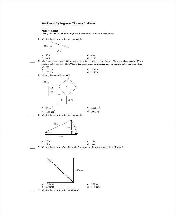 Sample Pythagorean Theorem Worksheet 9 Free Documents Download – Pythagorean Theorem Worksheets