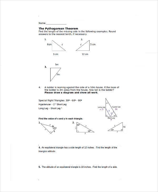 pythagorean theorem assignment worksheet2