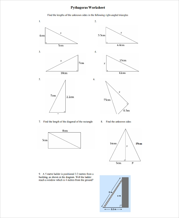 Sample Pythagorean Theorem Worksheet   Free Documents Download
