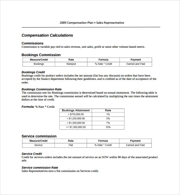 sales compensation plans templates 9 compensation plan templates sample templates