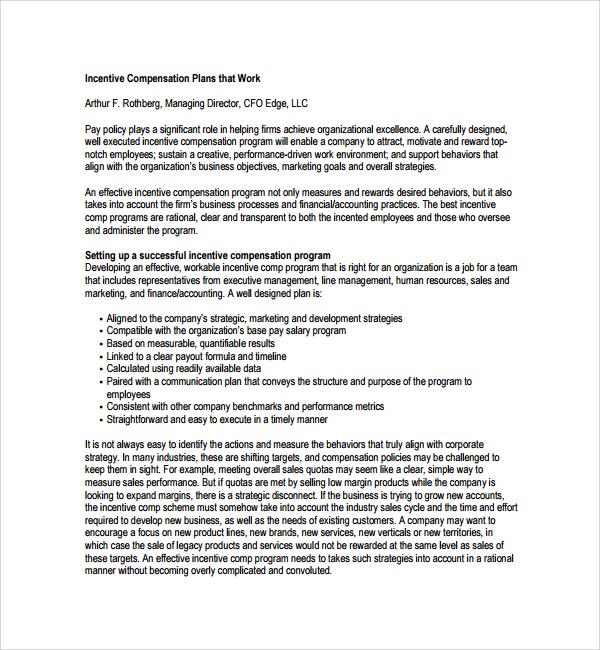 compensation plan template
