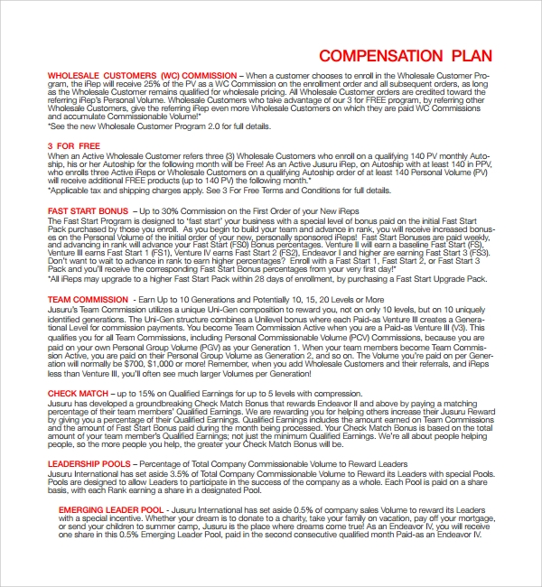 free compensation plan template