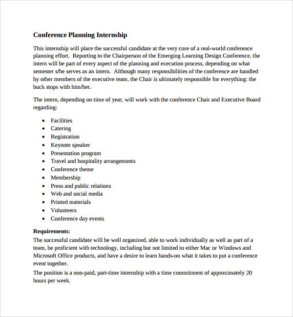 conference planning internship