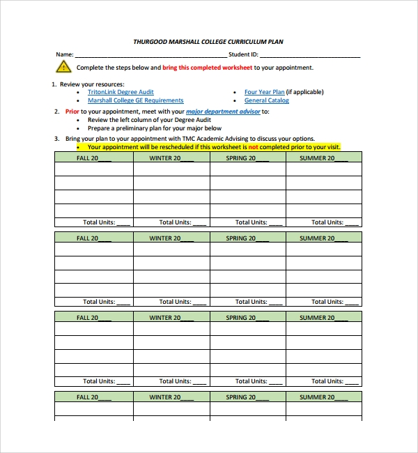 Sample Curriculum Planning Template   Free Documents In Pdf Word