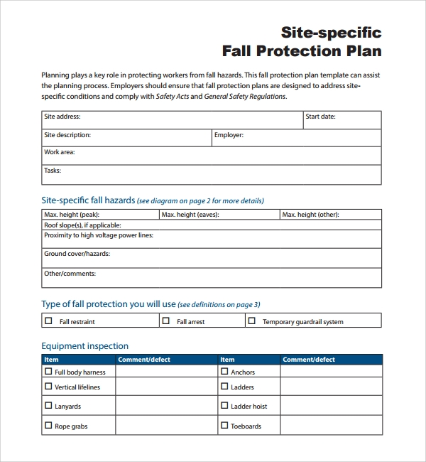 Sample Fall Protection Plan Template   Free Documents In Pdf Word