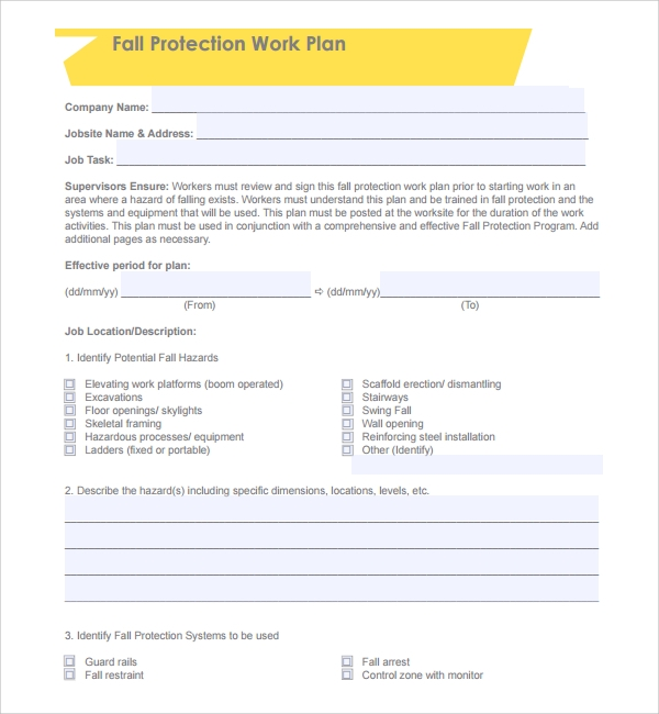 free fall protection plan template%ef%bb%bf