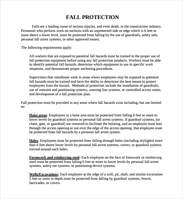 Sample Fall Protection Plan Template 9 Free Documents