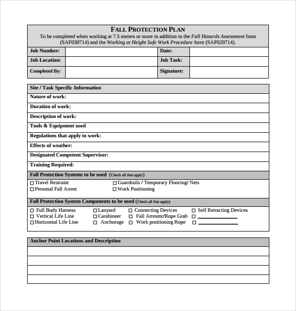 Sample Fall Protection Plan Template 9 Free Documents In Pdf Word