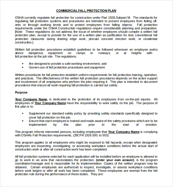 fall protection plan template doc