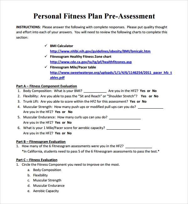 Sample Fitness Plan Template   Free Documents In Pdf Word