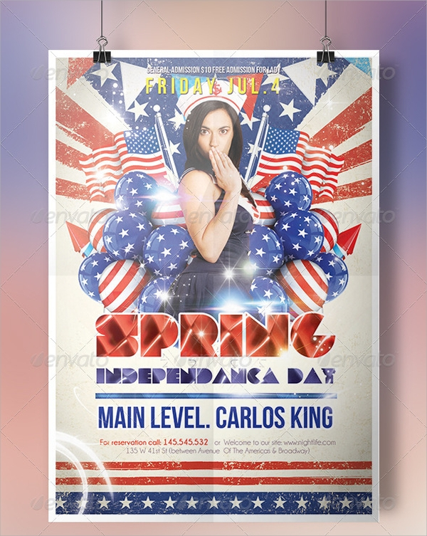 spring independence day flyer template