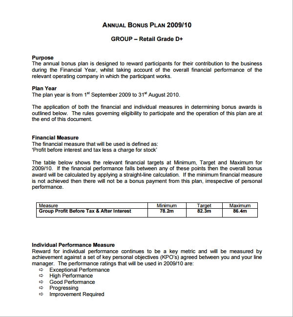 Sample Bonus Plan Template 6 Free Documents in PDF – Bonus Plan Template