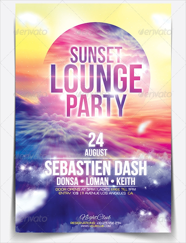 sunset lounge flyer