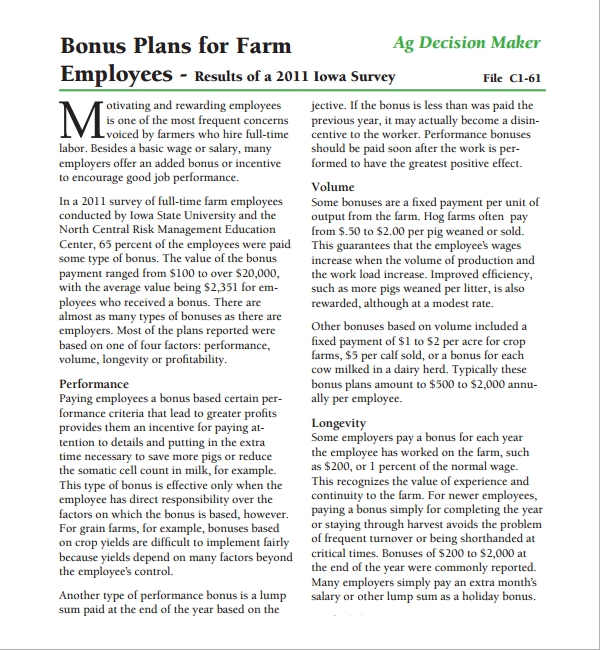 7 bonus plan templates sample templates bonus plan for farm maxwellsz