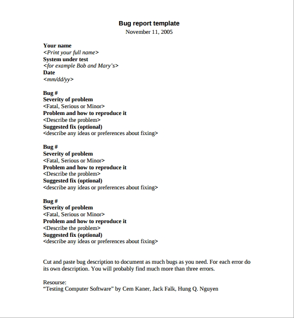 7 bug report templates sample templates for Software problem report template
