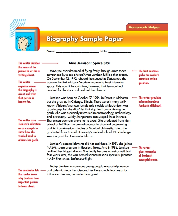 Sample Biography Report Templates   Free Documents Download In