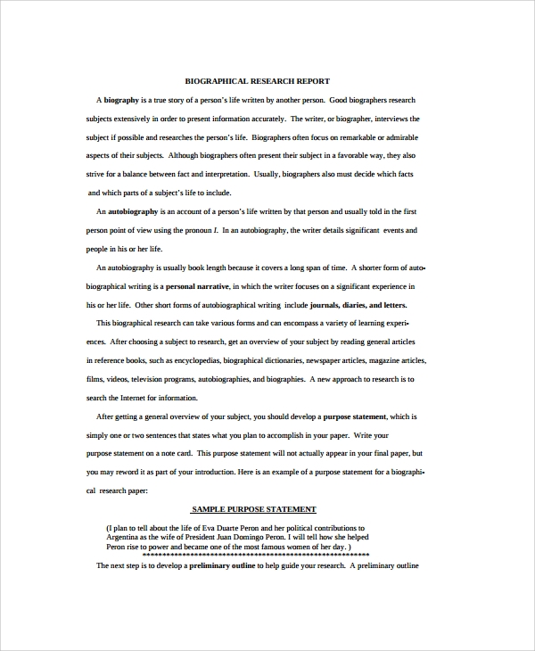 sample biography research paper