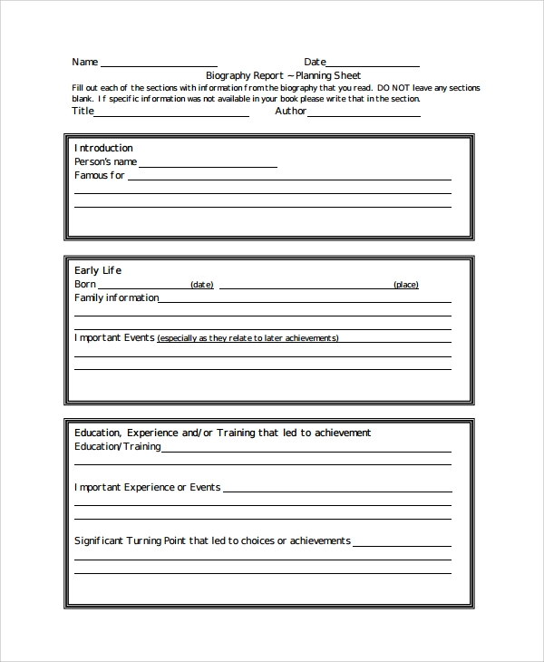 sample biography report templates
